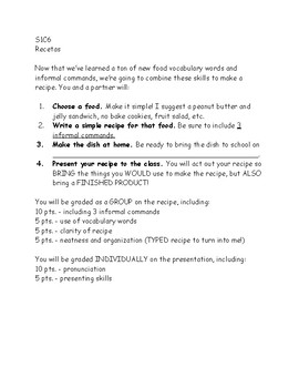 Spanish Recipe Project (Informal Commands + Food Vocab)