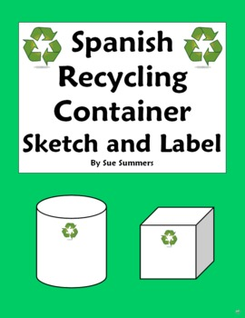 Spanish Recycling Container Sketch and Label Vocabulary Activity