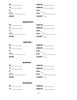 Spanish Reflexive Verb Packet: Activities and Project