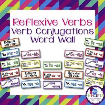 Spanish Reflexive Verb Conjugations Word Wall & Bulletin Board Set