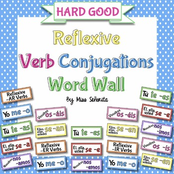 Spanish Reflexive Verb Conjugations Word Wall {HARD GOOD}