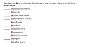 Spanish Reflexive Verb/Daily Routine Practice - Mr. Bean & Niko videos