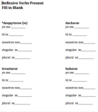 Spanish Reflexive Verb Fill in Blank