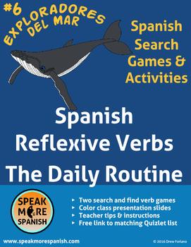 Spanish Reflexive Verb Game Daily Routine. Juego de verbos reflexivos en español