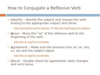 Spanish - Reflexive Verb Notes PowerPoint