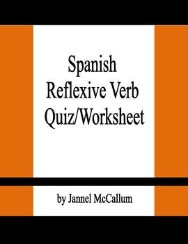 Spanish Reflexive Verb Quiz/Worksheet