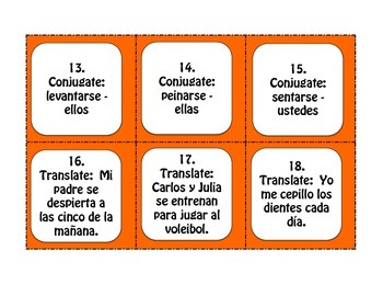 Spanish Reflexive Verb Task Cards