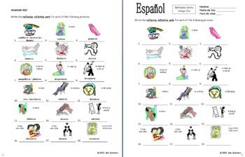 Spanish Reflexive Verbs 18 Infinitive Image IDs Worksheet
