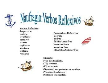 Spanish Reflexive Verbs Activity (Naufragio)