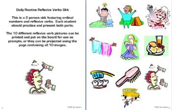 Spanish Reflexive Verbs Bundle - Vocabulary, 9 Worksheets, Skit, Quiz & More