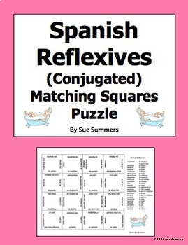 Spanish Reflexive Verbs Conjugated 4 x 4 Matching Squares Puzzle
