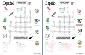 Spanish Reflexive Verbs Crossword 18 Words and 11 Image IDs