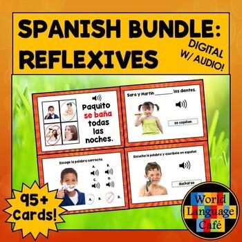 Spanish Reflexive Verbs Flashcards, Reflexive Verbs Digital Flashcards, Bundle