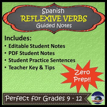 Spanish Reflexive Verbs - Guided Notes and Key