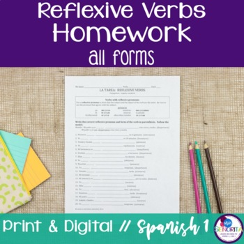 Spanish Reflexive Verbs Homework - all forms