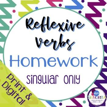 Spanish Reflexive Verbs Homework - singular only