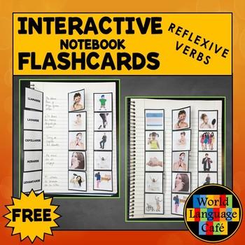 Spanish Reflexive Verbs Flashcards, Interactive Notebook Flashcards, Reflexivos