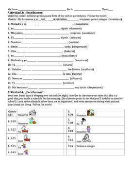 Spanish Reflexive Verbs Lesson - all forms