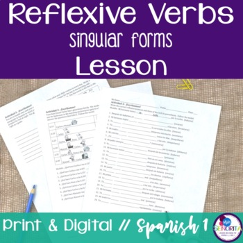 Spanish Reflexive Verbs Lesson - singular only