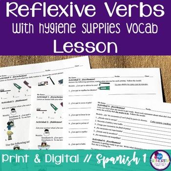Spanish Reflexive Verbs Lesson with Hygiene Supplies