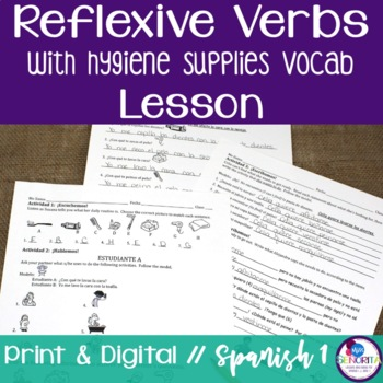Spanish Reflexive Verbs Lesson with Hygiene Supplies