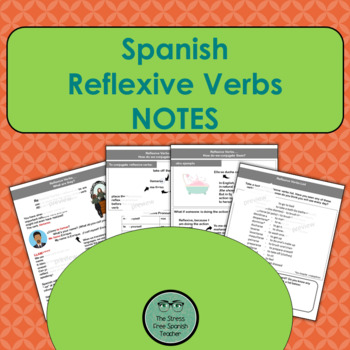 Spanish Reflexive Verbs, NOTES and handout of verbs list