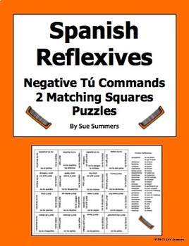 Spanish Reflexive Verbs Negative Tú Informal Commands Matching Squares Puzzle