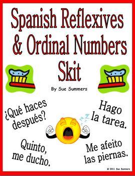 Spanish Reflexive Verbs & Ordinal Numbers Skit & Translation Homework
