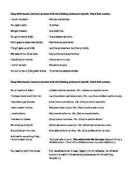 Spanish Reflexive Verbs Partner Practice
