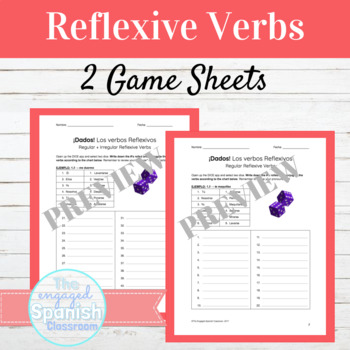 Spanish Reflexive Verbs Review Packet and Dice Games
