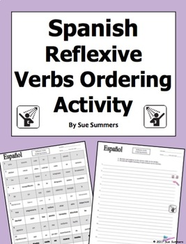 Spanish Reflexive Verbs Sentences To Put in Order - Verbos Reflexivos