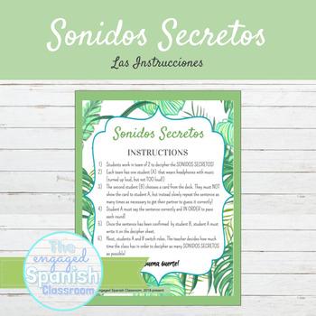 Spanish Reflexive Verbs Sonidos Secretos Speaking Activity