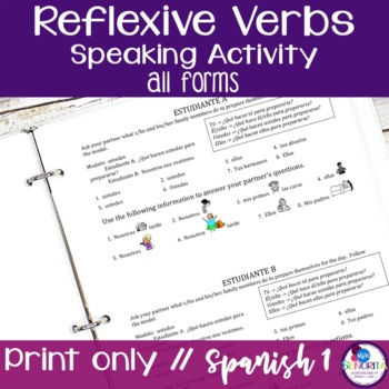 Spanish Reflexive Verbs Speaking Activity - all forms