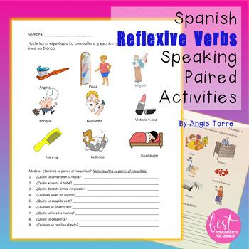 Spanish Reflexive Verbs Speaking Paired Activities