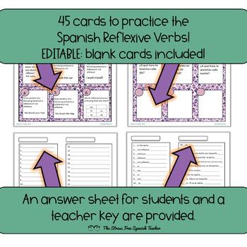 Spanish Reflexive Verbs Task Cards! 45 Cards! Editable!