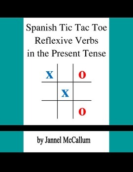Spanish Reflexive Verbs - Tic Tac Toe Game