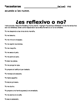 Spanish Reflexive Verbs Vocabulary List and Worksheets