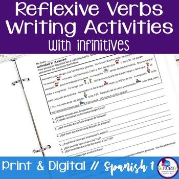 Spanish Reflexive Verbs Writing Activities - infinitives