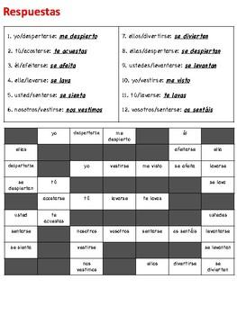 Spanish Reflexive Verbs Writing Activity