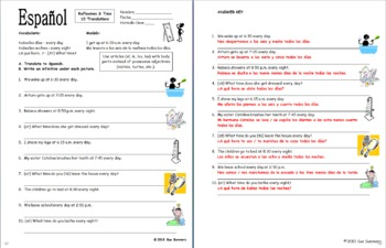 Spanish Reflexive Verbs and Time 10 Translations