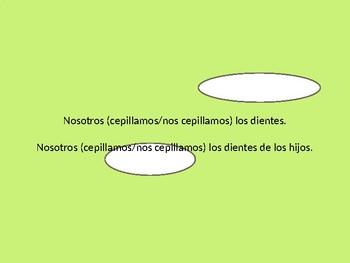 Spanish Reflexive vs. Non-reflexive Verb Grammar Whiteboard Practice