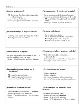 Spanish Reflexives  Modified Speed Dating Whole Class Speaking