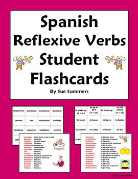 Spanish Reflexives Verbs Student Flash Cards / Memory Cards Set of 32