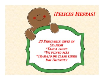Spanish Regalos-20 printable holiday gift cards