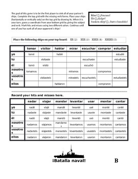 Spanish Regular AR Preterite Battleship (Batalla naval)