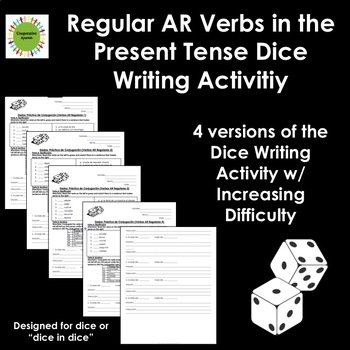 Spanish Regular AR Verbs Dice Writing Activity