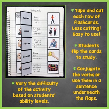 Spanish Regular AR Verbs Interactive Notebook Flashcards and Games