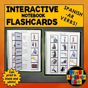 Spanish Regular AR Verbs Flashcards, Interactive Notebook Flashcards and Games