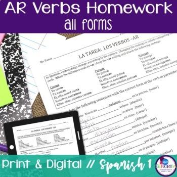 Spanish -AR verbs Homework - all forms