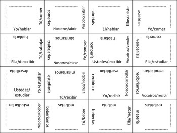 Spanish Regular Conditional Verb Form Puzzle Activity